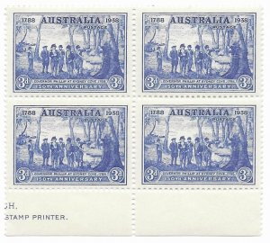 Australia 164  1937  3d block 4  VF Mint NH