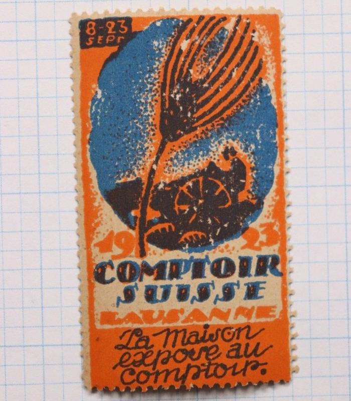 Swiss Counter Lausanne Farming 1923 Expo French poster label ad Mint MNH NH OG