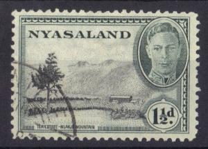Nyasaland 1945  used  George  VI    1 1/2 d     #