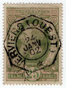(I.B) Belgium Telegraphs : 25Fr Green & Pink (1889)