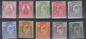 TURKS & CAICOS 1909 - 11   SG 115 - 124   VARIOUS VALUES TO 1/- MH