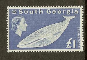South Georgia, Scott#15, 1PD Blue Whale, F-VF Ctr, MH
