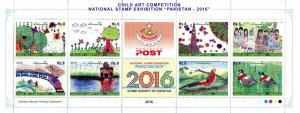 Pakistan 2016 MNH Child Art Competition Natl Stamps Exhibition 8v M/S Birds