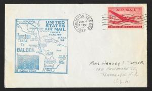 UNITED STATES First Flight Cover 1948 Houston to Balboa Canal Zone