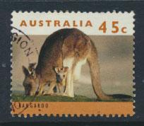 Australia SG 1454b  Used  orange brown  insc Type II - wildlife Kangaroo