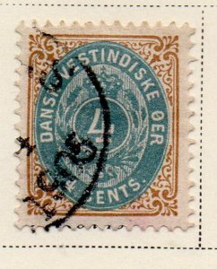 Danish West Indies Sc 18 1901 4c bistre & dull blue stamp used