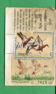 CALIFORNIA DUCK STAMP RW38 + CA #1 (used) On 1971 Hunting/ Fishing License  - 04