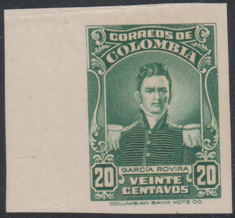 COLOMBIA 1944-45 G. ROVIRA Sc 500 MARGINAL IMPERF PROOF UNISSUED GREEN COLOR MNH