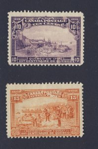 2x Canada MNG 1908 Quebec Stamps #101-10c & #102-15c Guide Value = $200.00