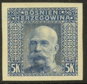 BOSNIA AND HERZEGOVINA 1906 5K FRANZ JOSEPH Imperf Color Trial Sc 45 MNH