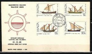 Malta, Scott cat. 619-619c. Maltese Ships issue. First day cover. ^