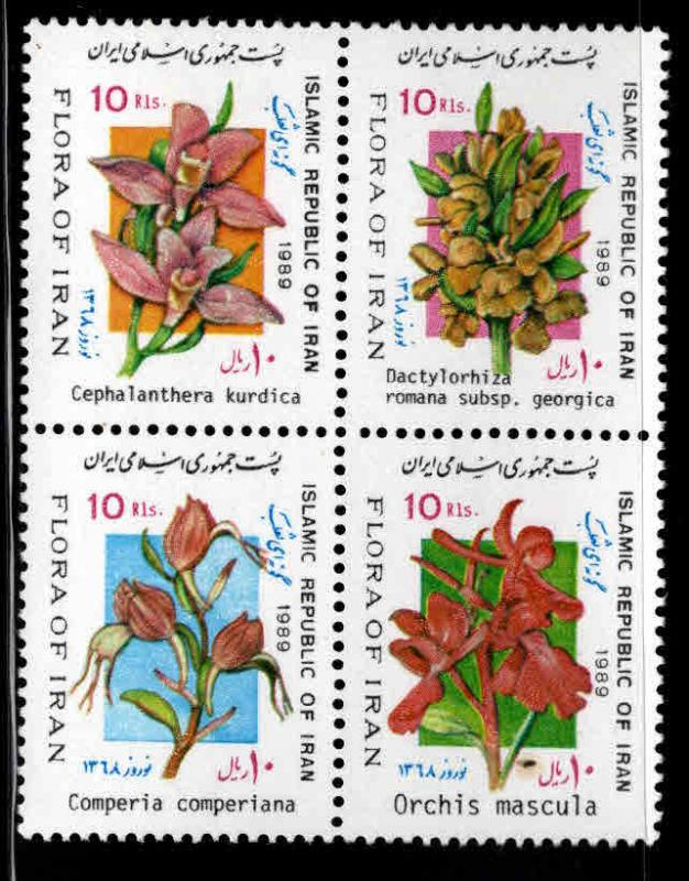 IRAN Scott 2361 MNH** Flower stamp block 1989 set