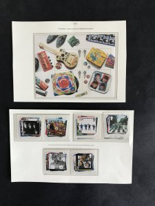 GB 2007 Beatles Mini Sheet & Beatles Stamp Set UM