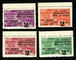 France Stamps # VF OG NH 1939 La Baule Aviation Set