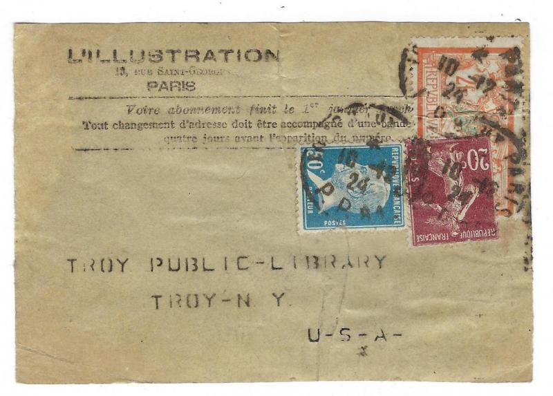 1924 France To USA Parcel Portion (MM24)