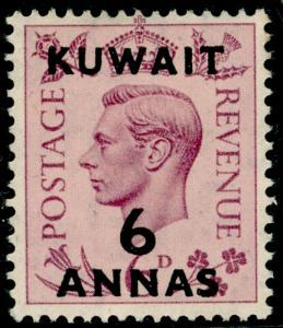 KUWAIT SG70, 6a on 6d purple, M MINT.