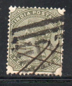 India Sc 42 188 4a olive green  Victoria stamp used