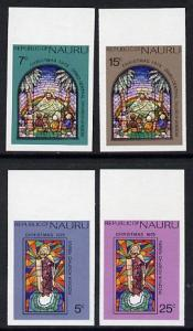 Nauru 1975 Stained Glass Windows Christmas set of 4 in un...
