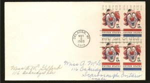 USA 1309 Circus 1966 Block of 4 First Day Cover Used