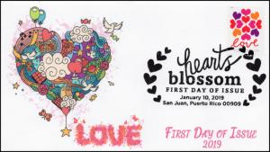 19-004, 2019, SC 5339, Hearts Blossom, Pictorial  Postmark, FDC