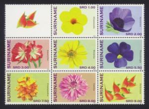 Suriname Sc# 1433-40 MNH Flowers 2012 (Block of 8)