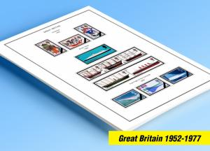 COLOR PRINTED GREAT BRITAIN 1952-1977 STAMP ALBUM PAGES (55 illustrated pages)