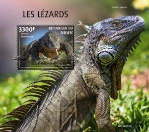 NIGER - 2019 - Lizards - Perf Souv Sheet - MNH