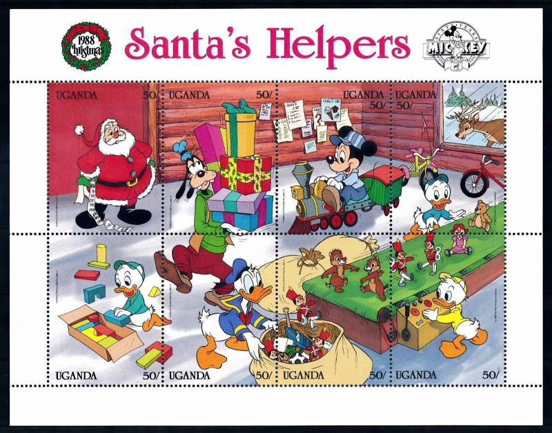 [62809] Uganda 1988 Disney Mickey Friends - Christmas Santa's Helpers Sheet MNH
