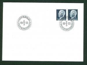 Sweden.  Fdc  1973.  King Gustav VI Adolf  2x 75 Ore.  Engraver  Cz. Slania