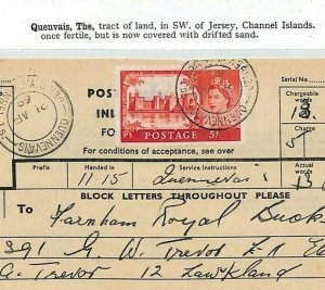 GB CASTLES Channel Islands QUENNEVAIS JERSEY Used Telegram {samwells-covers}GB38
