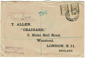 Bechuanaland 1936 Mafeking cancel on registere cover to England, SG 98, 130 pds