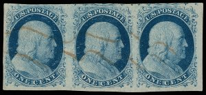 U.S. #7 Used Strip of 4 with PSE Cert XF Rare!