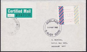 AUSTRALIA 1985 $1.23 Frama on Certified Mail cover ex Adelaide..............7321