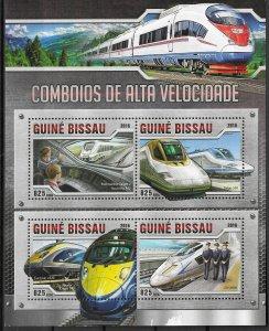 Guinea-Bissau MNH S/S High Velocity Trains 2016