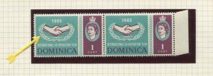 Dominica - Scott 187 - ICY - Broken Leaves-1965 - MNH - Joined Pair 1c Stamps