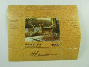 SIGNED 1992 Canada Nova Scotia Wildlife Federation Whitetail Deer stamplet MNH