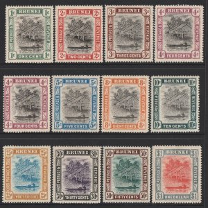BRUNEI : 1907 River View set 1c-$1, wmk mult crown, plus 4c shade.