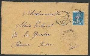 ALGERIA 1924 25c opt on cover Oran to France...............................59209