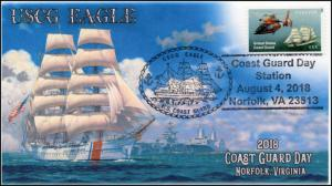 18-237, 2018, USCG Eagle, Pictorial Postmark, Coast Guard Day, event