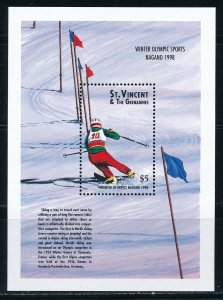 St-Vincent - Nagano Olympic Games MNH Sports Sheet Skiing (1998)