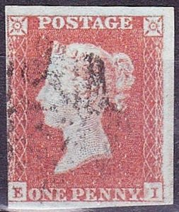 GREAT BRITAIN 1841 QV 1d Red-Brown E-I SG8 CV £20