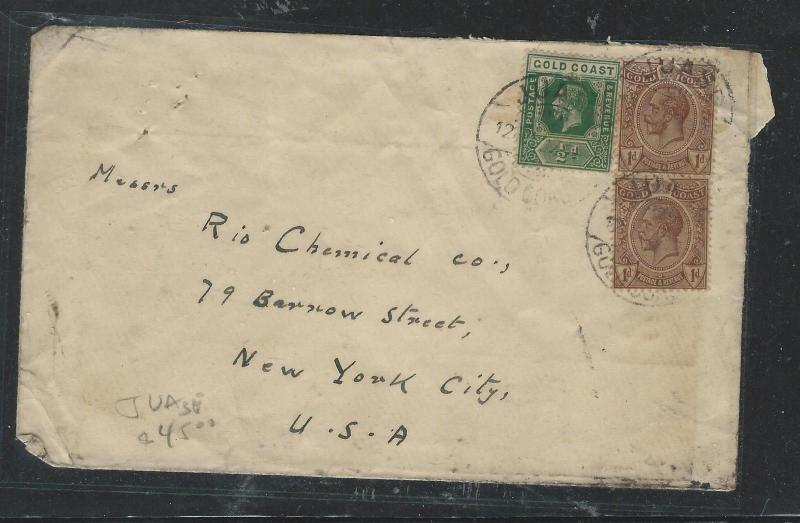 GOLD COAST (P2805B) KGV 1/2D+1DX2 1927 JUASE TO USA