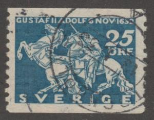 Sweden Stamp ,used, Scott# 234, Horses on stamps, Knights, blue stamp, #M426