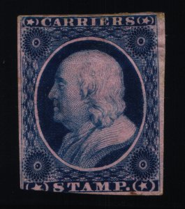 Scott #LO3 - 1c blue, rose - Franklin - Carriers' Stamps - 1875