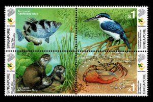 Singapore Scott 947 MNH** Wildlife Block of 4