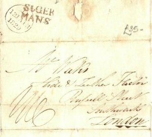 GB CORNWALL Cover 1829 Superb *St.GER/MANS* Postmark St Germans EL Letter EP39