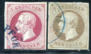 GR Lot 10591 German State HANOVER 1859 Michjel 14 - 1GR & 16 - 3Grr as shown