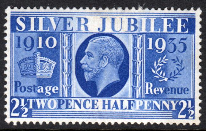 GB KGV 1935 Jubilee 2.5d Blue SG456 Mint Hinged