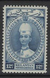 MALAYA KELANTAN SG47 1937 12c BLUE MTD MINT