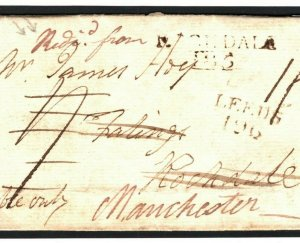 GB LANCS Cover MANUSCRIPT *Redirected From* ROCHDALE 1809 Leeds {samwells}R02a